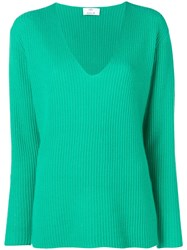 Allude Ribbed Jumper Green