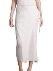 Helmut Lang Side Tie Merino Wool Wrap Skirt White