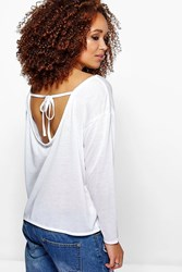 Boohoo Oversized Tie Back Long Sleeve Tee White