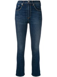 Rag And Bone High Waisted Cropped Jeans Blue