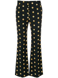 Chloe Floral Flared Trousers Silk Cotton Polyester Viscose Black