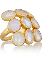 Pippa Small 18 Karat Gold Rainbow Moonstone Ring