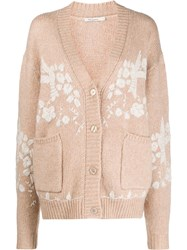 Mes Demoiselles Floral Embroidered Cardigan Neutrals