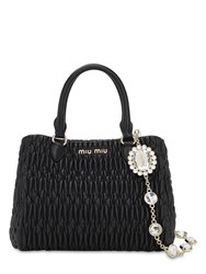Miu Miu Matelasse Leather Top Handle Bag Black