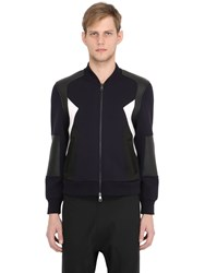 Neil Barrett Neoprene And Faux Leather Bomber Jacket