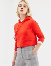 Noisy May Cropped Hoodie Red