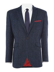 Harris Tweed Men's Stranraer Herringbone Blazer Blue
