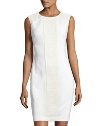 Tahari By Arthur S. Levine Sleeveless Lace Scuba Sheath Dress White