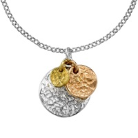 Dower And Hall 18Ct Sterling Silver And Gold Vermeil Hammered Triple Disc Nomad Pendant Multi