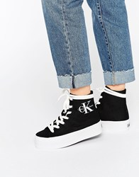 Calvin Klein Jeans Zabrina Black Canvas Hi Top Trainers Blk