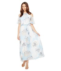Calvin Klein Printed Maxi With Cold Shoulder Flutter Sleeve Dress Iceberg Multi Women's Dress Blue