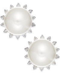 Macy's 14Ky 8Mm Cultured Fresh Water Pearl 1 5 Ct Diamond Earrings