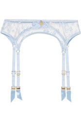 Agent Provocateur Zadi Satin Trimmed Embroidered Tulle Suspender Belt Sky Blue
