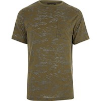 River Island Mens Khaki Green Burnout T Shirt