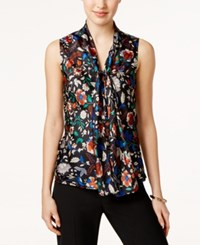 Nine West Printed Satin Tie Neck Top Sunset Multi