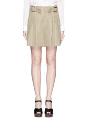 Chloe Buckle Strap Inverted Pleat Cotton Linen Shorts Green