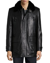 Andrew Marc New York Ernest Leather Car Coat With Removable Fur Collar Black