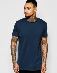 Asos Longline T Shirt In Relaxed Skater Fit In Blue Cadet Blue
