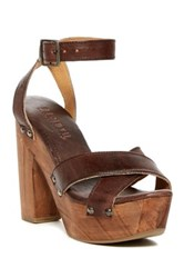 Bed Stu Madeline Leather Platform Ankle Strap Sandal Brown