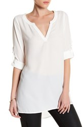Lucca Couture V Neck Long Sleeve Tunic Shirt White