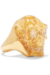 Alexander Mcqueen Gold Tone Crystal And Resin Ring Metallic