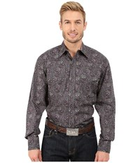 Stetson Romance Paisley Print Grey Men's Long Sleeve Button Up Gray