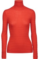 M Missoni Crochet Knit Wool Blend Turtleneck Sweater Bright Orange