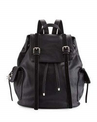 Cynthia Rowley Kyle Faux Leather Flap Backpack Black