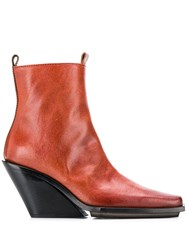 Ann Demeulemeester Pointed Toe Ankle Boots Red