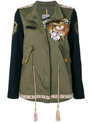 History Repeats Embroidered Zipped Jacket Green
