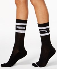 Puma Women's Mid Length Terry Tube Socks Black White