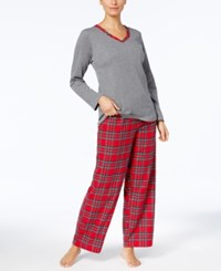 Charter Club Flannel Mix It Top And Printed Pants Pajama Set Created For Macy's Brinkley Plaid