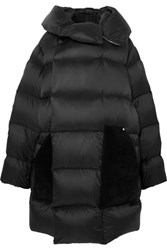 Rick Owens Sisy Oversized Quilted Shell And Suede Down Coat Black