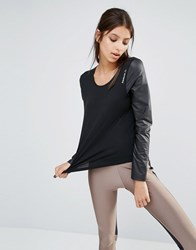 Reebok Slouchy Fit T Shirt With Leather Look Sleeves Black