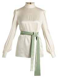 Hillier Bartley High Neck Satin Blouse Cream