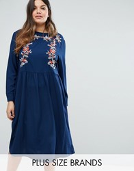 Alice And You Embroidered Long Sleeve Midi Dress Navy