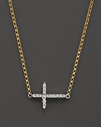Bloomingdale's Two Tone Diamond Cross Necklace In 14K White And Yellow Gold .06 Ct. T.W. Multi