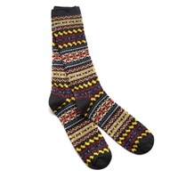 Anonymous Ism Dark Grey Fair Isle Crew Socks