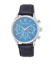 Vince Camuto Stainless Steel Leather Strap Chronograph Navy