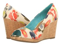 Toms Stella Wedge Tangerine Watercolor Floral Women's Wedge Shoes