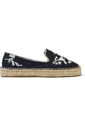 Soludos Otomi Embroidered Canvas Espadrilles Midnight Blue