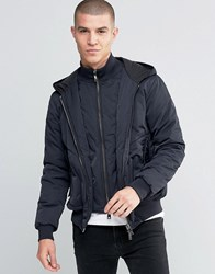 Armani Jeans Jacket With Hood And Mock Insert In Navy Water Repellent Navy