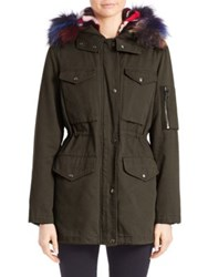 Jocelyn Two In One Military Jacket And Fur Vest Multi