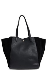 Sole Society Norah Slouchy Faux Leather And Suede Tote Black