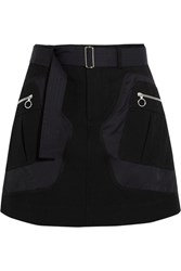 Tim Coppens Shell And Wool And Cotton Blend Twill Mini Skirt Black