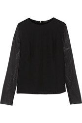 Rag And Bone Gustave Chiffon Crepe Top Black