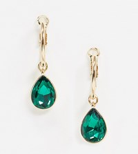 Accessorize Exclusive Hoop Drop Earring With Emerald Gem Gold