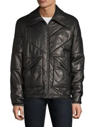Bally Padded Leather Puffer Jacket Black