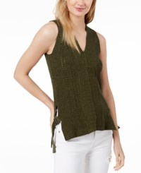 525 America Petite Cotton Buckle Side Tank Tunic Olive
