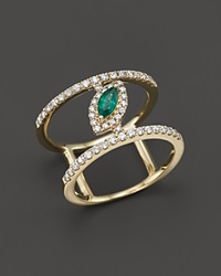 Bloomingdale's Emerald And Diamond Geometric Ring In 14K Yellow Gold